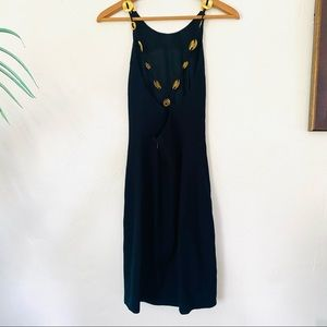 GILLIAN Vintage Brass Ring Stappy Black Mini Dress